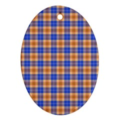 Orange Blue Plaid Ornament (oval)