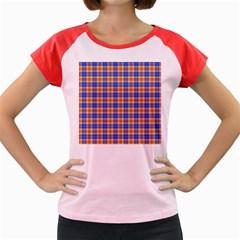 Orange Blue Plaid Women s Cap Sleeve T Shirt