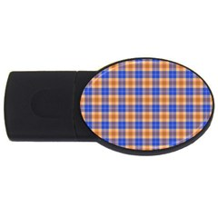 Orange Blue Plaid Usb Flash Drive Oval (4 Gb)