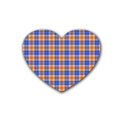 Orange Blue Plaid Heart Coaster (4 Pack)
