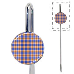 Orange Blue Plaid Book Mark