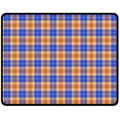 Orange Blue Plaid Fleece Blanket (medium)
