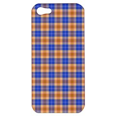 Orange Blue Plaid Apple Iphone 5 Hardshell Case by snowwhitegirl