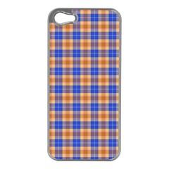 Orange Blue Plaid Apple Iphone 5 Case (silver)