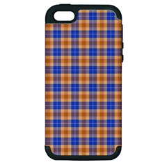 Orange Blue Plaid Apple Iphone 5 Hardshell Case (pc+silicone)