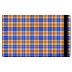 Orange Blue Plaid Apple Ipad 2 Flip Case