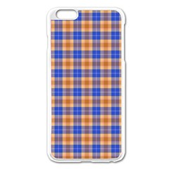 Orange Blue Plaid Apple Iphone 6 Plus/6s Plus Enamel White Case
