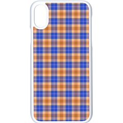 Orange Blue Plaid Apple Iphone X Seamless Case (white)
