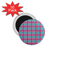 Blue Pink Plaid 1 75  Magnets (10 Pack)