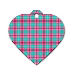 Blue Pink Plaid Dog Tag Heart (one Side)