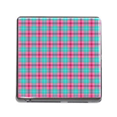 Blue Pink Plaid Memory Card Reader (square 5 Slot)