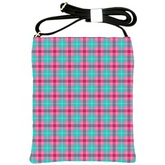 Blue Pink Plaid Shoulder Sling Bag