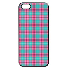 Blue Pink Plaid Apple Iphone 5 Seamless Case (black)
