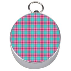 Blue Pink Plaid Silver Compasses