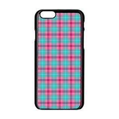 Blue Pink Plaid Apple Iphone 6/6s Black Enamel Case