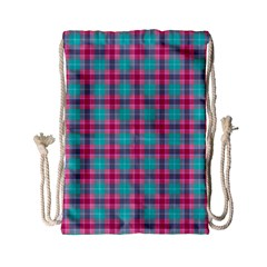 Blue Pink Plaid Drawstring Bag (small)
