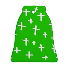 Green White Cross Ornament (bell)