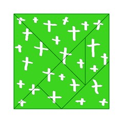 Green White Cross Acrylic Tangram Puzzle (6  X 6 )