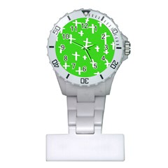 Green White Cross Plastic Nurses Watch