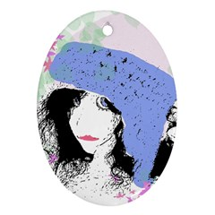 Girl With Hat Oval Ornament (two Sides)