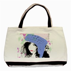 Girl With Hat Basic Tote Bag (two Sides)