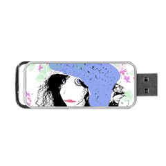 Girl With Hat Portable Usb Flash (two Sides)