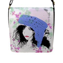 Girl With Hat Flap Closure Messenger Bag (l)