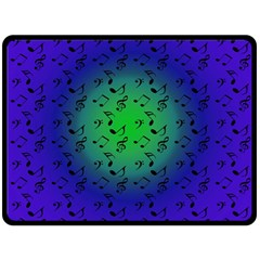 Blue Music Green Moon Double Sided Fleece Blanket (large)
