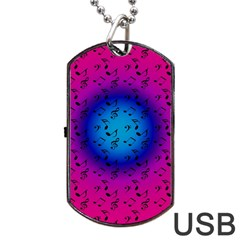 Pink Music Blue  Moon Dog Tag Usb Flash (two Sides)