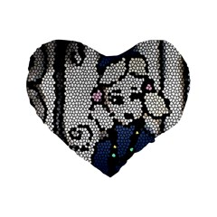Pixie Girl Stained Glass Standard 16  Premium Flano Heart Shape Cushions