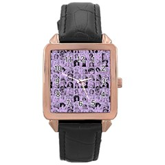 Lilac Yearbok Rose Gold Leather Watch