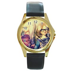Galaxy Gals Round Gold Metal Watch