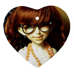 Red Braids Girl Heart Ornament (two Sides)