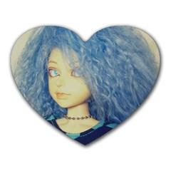 Blue Hair Boy Heart Mousepads