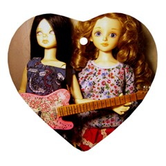 Playing The Guitar Heart Ornament (two Sides)