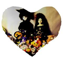 Old Halloween Photo Large 19  Premium Heart Shape Cushions