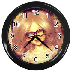 Girls With Glasses Wall Clock (black)