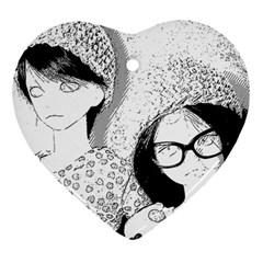 Twins Heart Ornament (two Sides) by snowwhitegirl