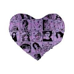 Lilac Yearbook 2 Standard 16  Premium Flano Heart Shape Cushions