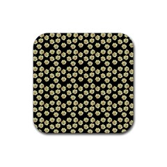 Antique Flowers Black Rubber Square Coaster (4 Pack)