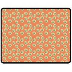 Antique Flowers Peach Fleece Blanket (medium)
