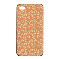 Antique Flowers Peach Apple Iphone 4/4s Seamless Case (black)