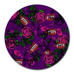 Purple  Rose Vampire Round Mousepads by snowwhitegirl