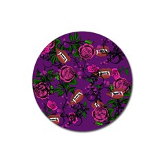 Purple  Rose Vampire Magnet 3  (round)