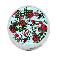 Light Blue Rose Vampire 4 Port Usb Hub (two Sides)