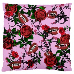 Pink Rose Vampire Large Cushion Case (one Side)