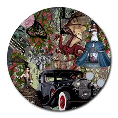 Steampunk Collage Round Mousepads