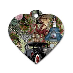 Steampunk Collage Dog Tag Heart (one Side)