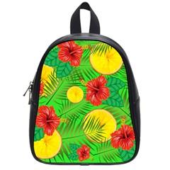 Orange Tropics Green School Bag (small)