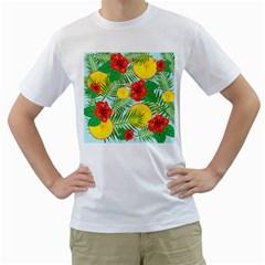 Orange Tropics Blue Men s T Shirt (white)